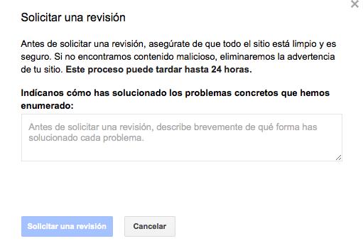 Revisión google ante Malware