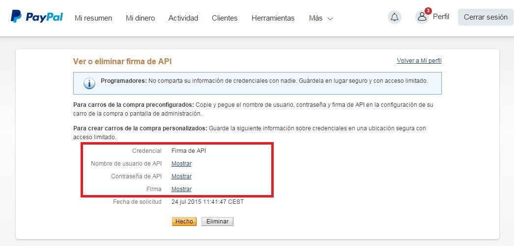 configurar api paypal en tienda online